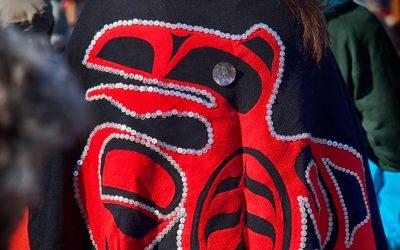 kwekwecnewtxw–protect-the-Inlet-march-10-man-wearing-haida-gwaii-button-blanket-regalia